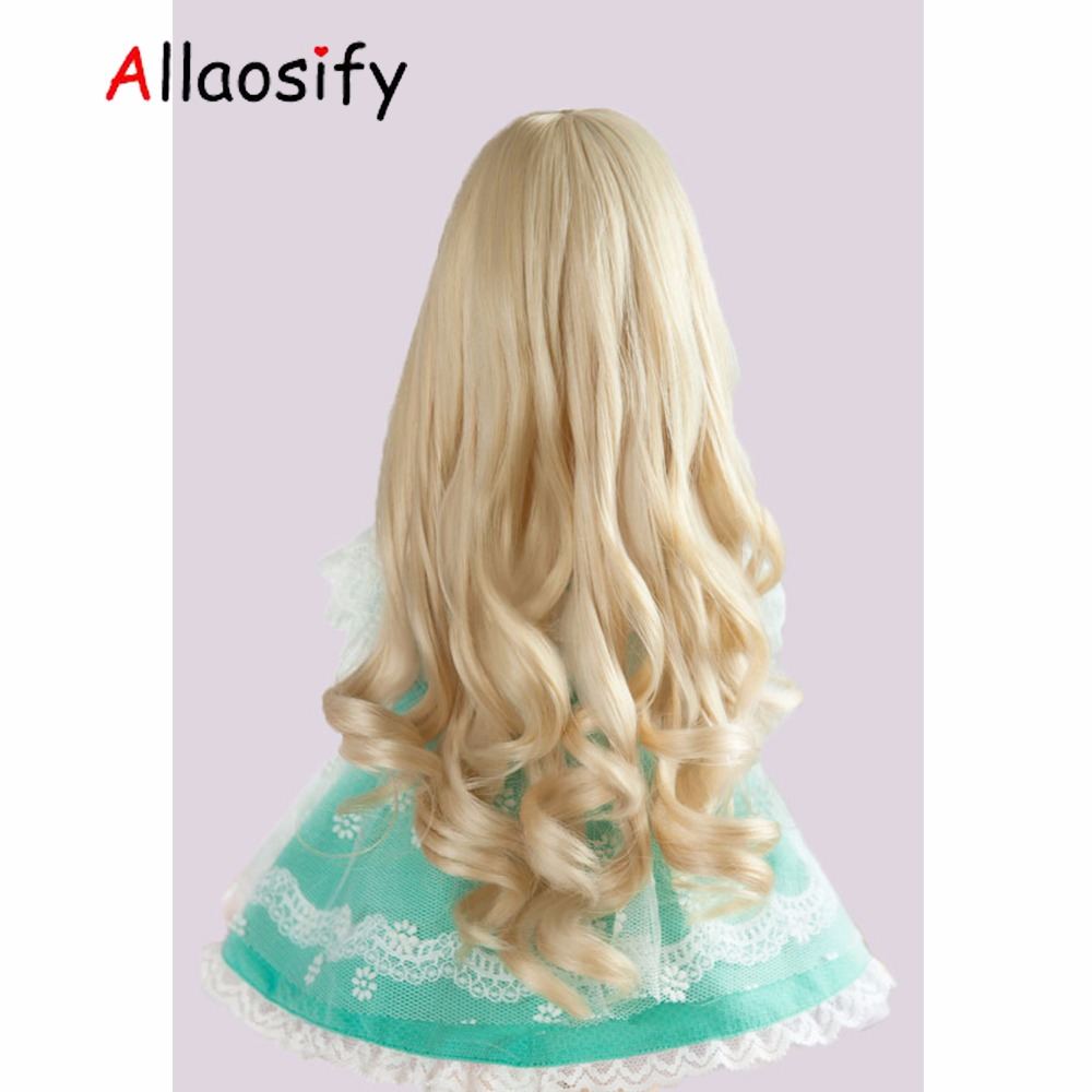 Allaosify bjd hair Doll Accessories 1/3 1/4 1/6 1/8 Bjd Wig Doll Wig Long Curly Hair For Dolls bjd wig free shipping 21 colors allaosify bjd wig 1 3 high temperature wig boy short hair doll wigs with imitation mohair air bangs back bjd hair
