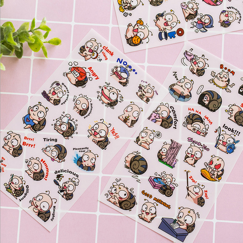 6 Pcs/Bag New Cute animal snails child paper sticker diy decoration sticker for album scrapbooking kawaii stationery Paste6 Pcs/Bag New Cute animal snails child paper sticker diy decoration sticker for album scrapbooking kawaii stationery Paste