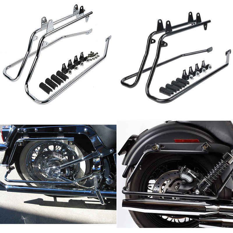 Saddle bag Support Bars Mount Bracket For Harley Softail Fat Boy FXST XL Black