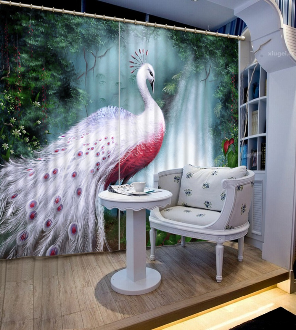 Custom Window Curtains Living Room The Animal Decoration Curtains Drapes  peacock Photo Printing Blackout Thick Curtain Drapes