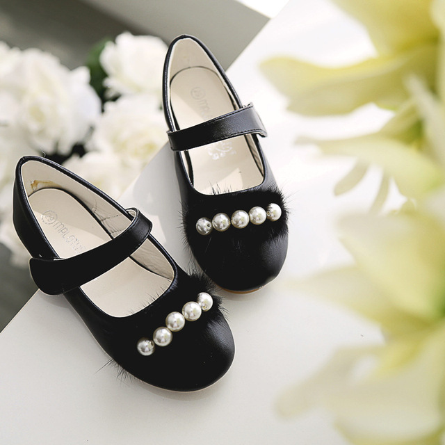 New 2018 Kids Baby Flowers Children Princess Leather Toddler Shoes For Little Girl Beaded Dance Wedding Party Dress Shoes