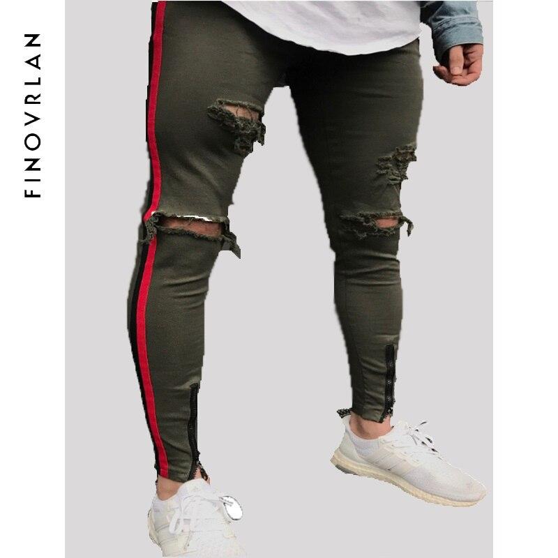 2018 New Arrived Men side red stripe biker jeans denim ripped holes slim supper skinny hip hop jeans men