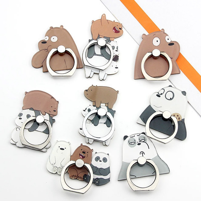 2019 New Rotating Cartoon Card Test Brown Bear Expression Bear Group Bear Mobile Phone Ring Bracket For IPhone6s 7 8p Xs Max Xr