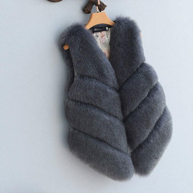 S-4XL женский Мех животных жилет Новинка года зима теплая искусственного лиса Мех животных жилет Для Женщин высоком Класс Мода o-образным вырезом с длинным Мех животных пальто кардиган - Цвет: Темно-серый