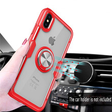 Ultra Thin Transparent Phone Case For Iphone Xs Case/Cover Car Magnetic Holder Finger Ring Cover