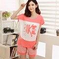 Пижамы Для Женщин Летом С Коротким рукавом Тонкий Модальный Пижамы женщин гостиная Пижамы Установить плюс размер 3XL