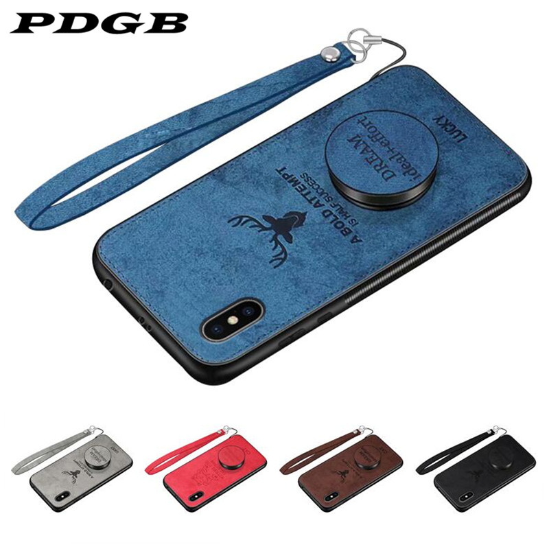 PDGB Rugged TPU Case for Huawei P20 Pro P30 <font><b>Lite</b></font> <font><b>Honor</b></font> 10 <font><b>9</b></font> 8 <font><b>Lite</b></font> 8X 8A 8C 6C Pro V9 Play Cloth Pattern Cover Elk Deer Shell image