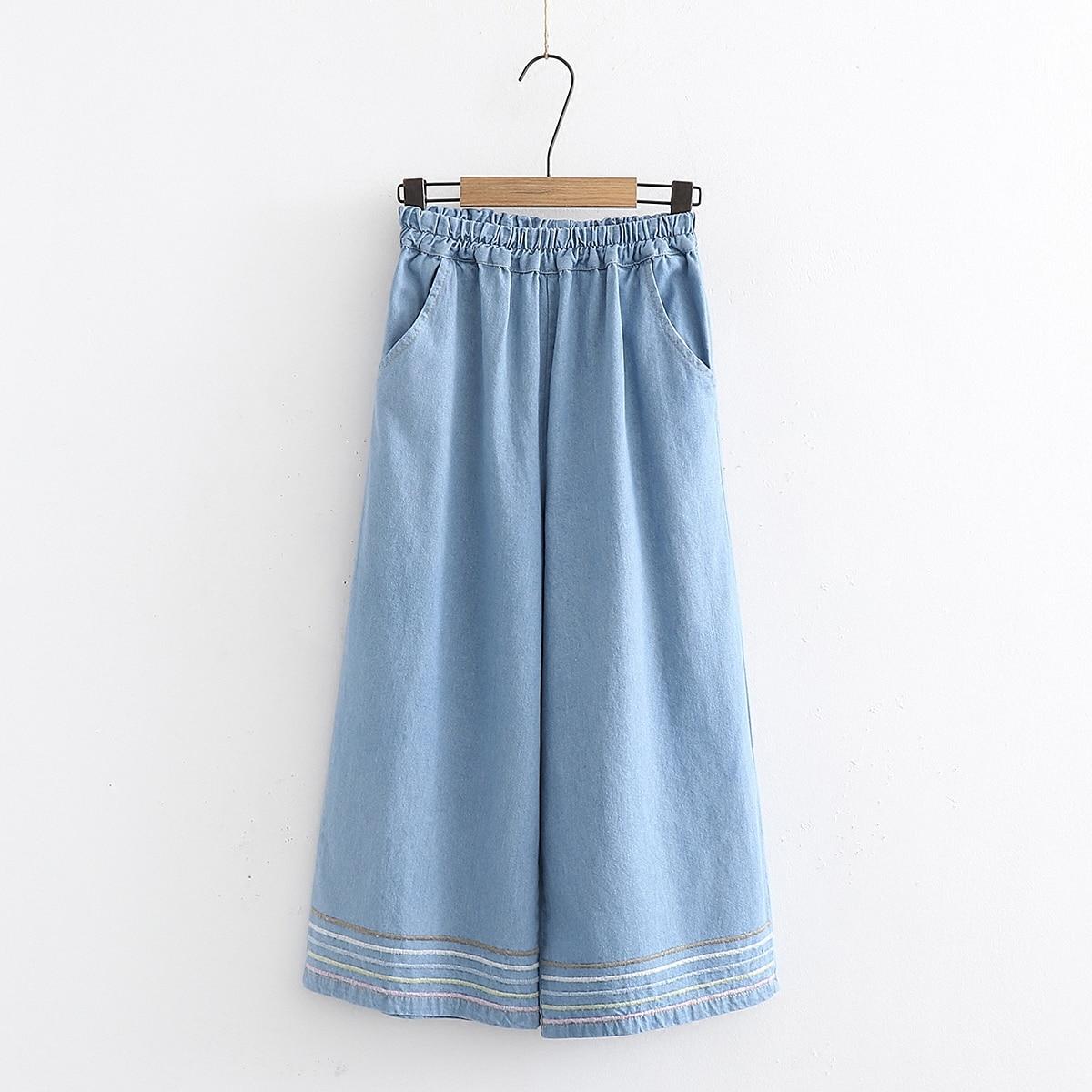 2019 new spring women mori girl Literary fresh Jeans female loose elastic waist   Wide     leg     pants   Anke-Length   pants
