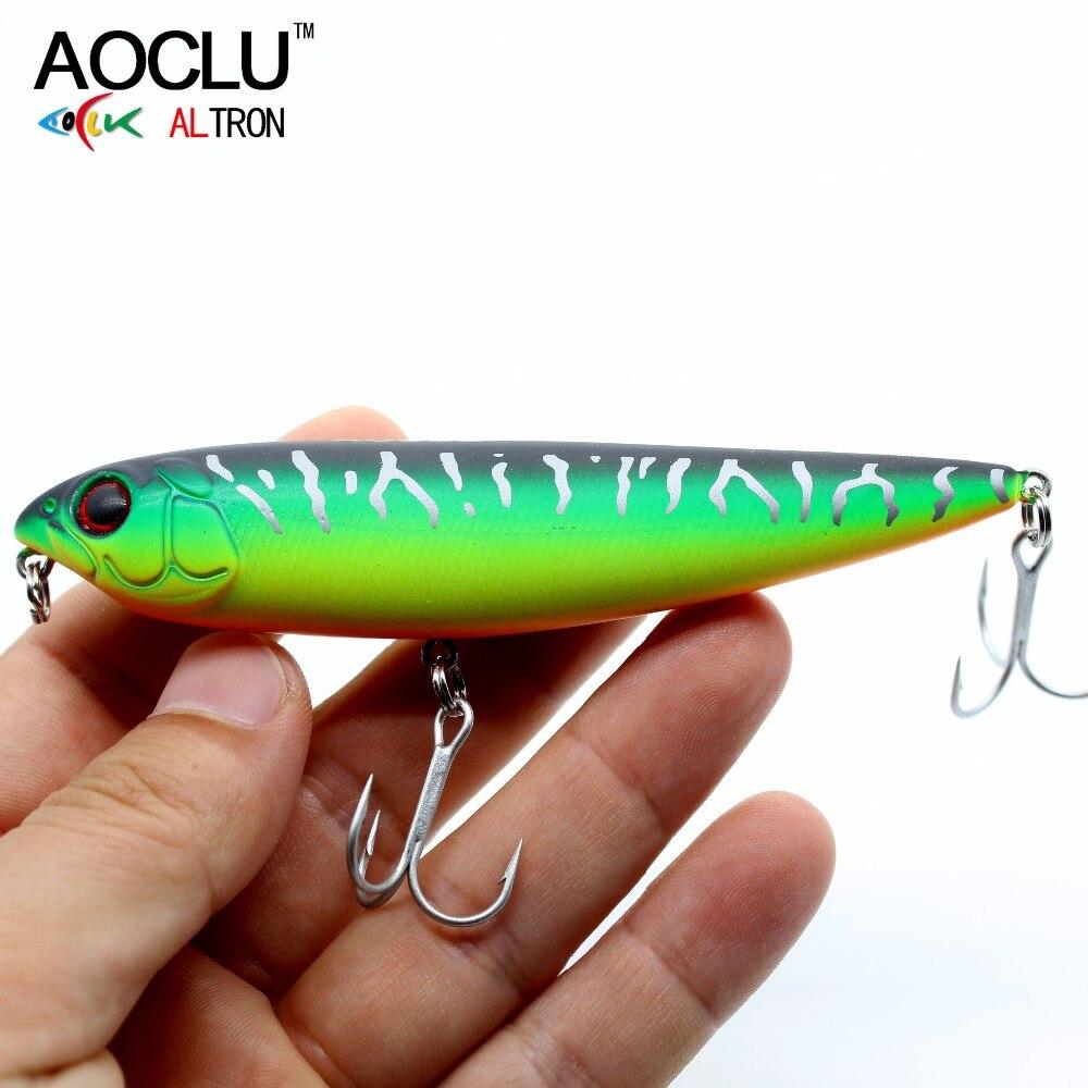 AOCLU Wobblers Salt Vmc Hooks Water-4 Crank Hard-Bait Minnow Lures-Bass Popperfishing