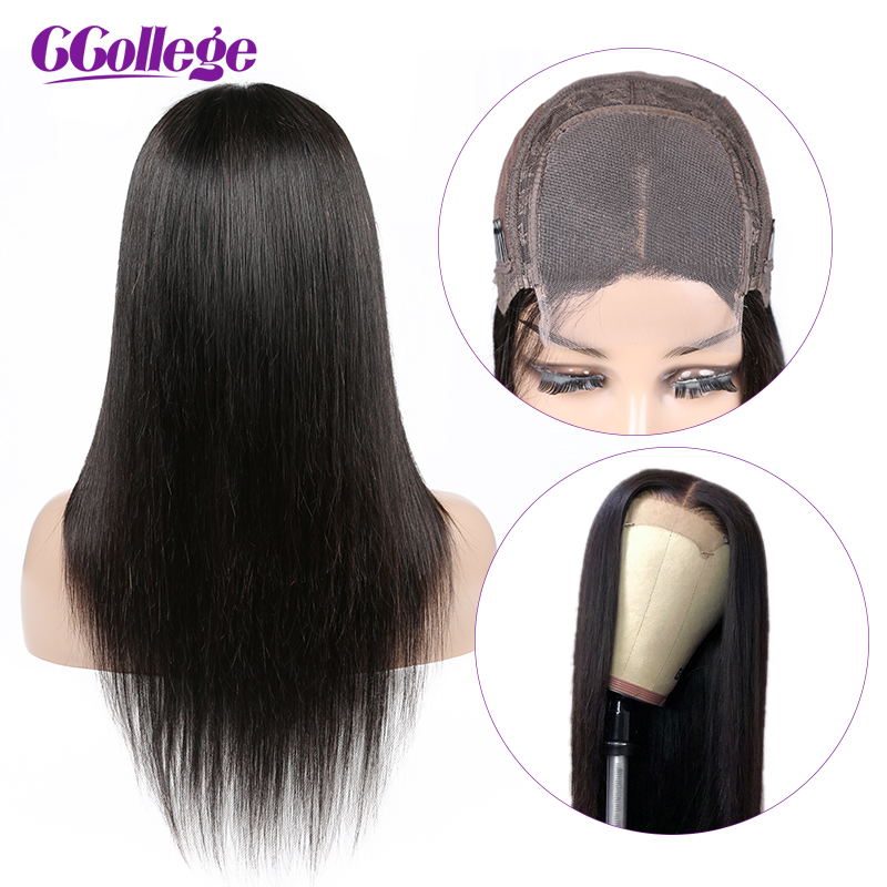 Pre Plucked 4x4 Lace Closure Wig 150% Density Lace Front Human Hair Wigs Peruvian Straight Hair Remy Wig For Black Women(China)