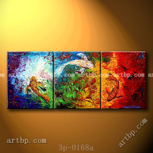 Koi in the reflections fish oil painting on canvas art canvas set 3 panel 3 pcs