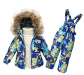 Ropa de niños del invierno traje de esquí chica por la chaqueta abrigo + juego Jumpsuit 1-6 años embroma la ropa para bebé / Baby Girl