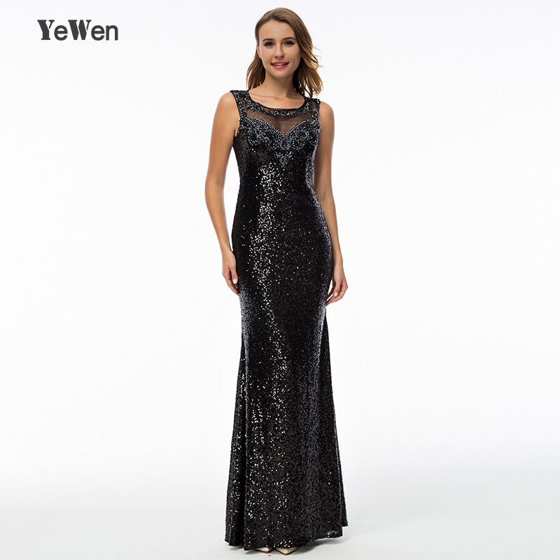 YeWen black beaded crystal party prom evening dress 2018 sheer back ...