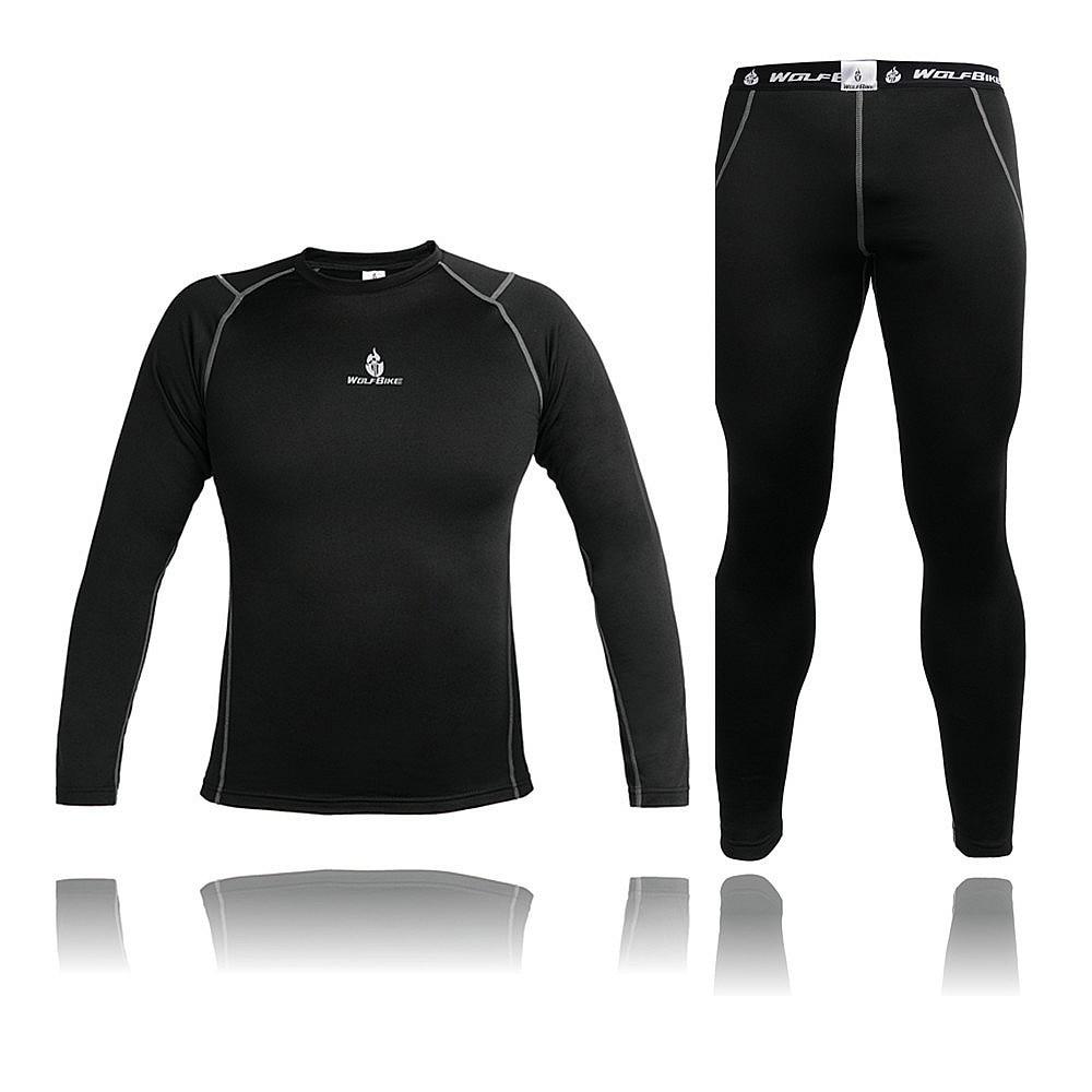 WOLFBIKE Mens Thermal Underwear Compression Base Layer Sport Cycling underwear Long Sleeve Winter Outdoor Sports Underwear Sets
