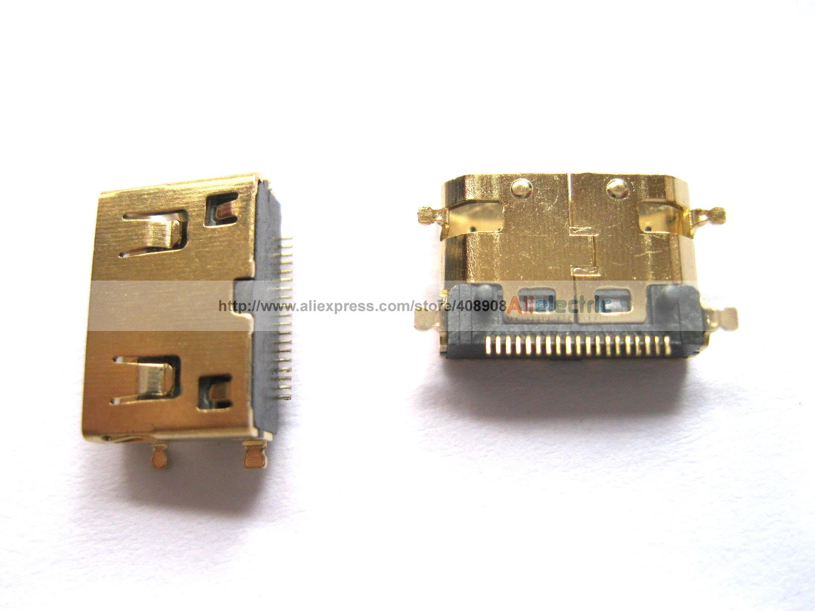 ФОТО 50 Pcs Gold Mini 19pin HDMI Female Connector SMT 180 Degree