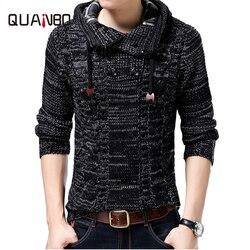 QUANBO mannen trui merk-kleding nieuwe winter thinck warm gebreide trui vest mannelijke mode hooded 35% wol sweatercoat S-4XL