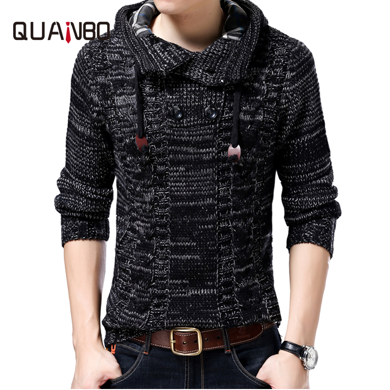 QUANBO Men Sweater Brand-clothing New Winter Thinck Warm Knitted Sweater Cardigan Male Fashion Hooded 35% Wool Sweatercoat S-4XL