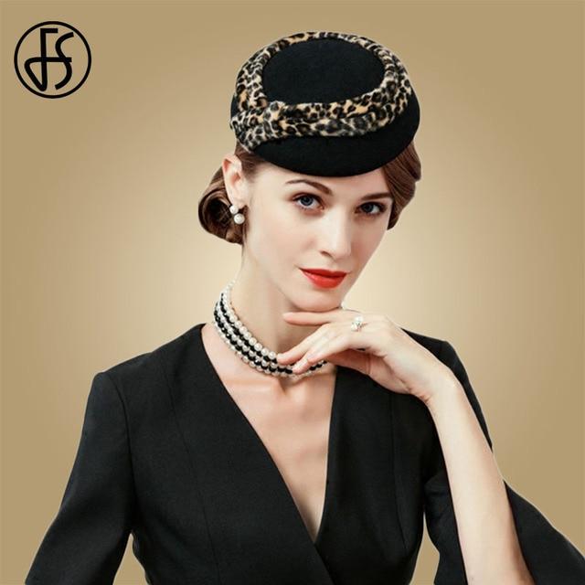 FS Black Fascinator Vintage Leopard Pillbox Hat 100% Wool Royal Wedding Dress  Hats Cocktail Felt Fedora For Women Church Caps d9245fabd7e