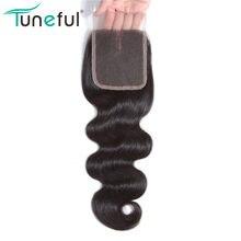 Chiusura del merletto dei capelli dell'onda del corpo brasiliana dei capelli di tunica libera/media/tre parti Remy capelli umani chiusura superiore del merletto svizzero 4x4 pollici