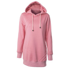 Autumn Winter Women's Long Solid Color Casual Hoodies Pullover Long-sleeved Thicken Plus Velvet Women Tops