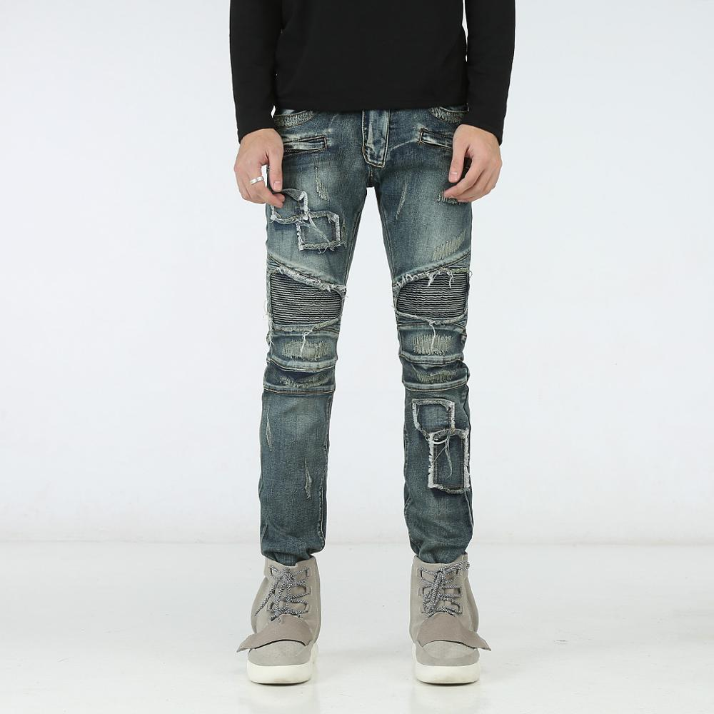 2017 new New Distressed Fashion Design Men Jeans Slim Elastic Jeans Men Casual Biker Jeans Straight Denim Skinny Ripped Jeans Fo thin stretch jeans ripped denim trousers slim skinny black jeans men new famous brand biker jeans elastic mens jeans l702