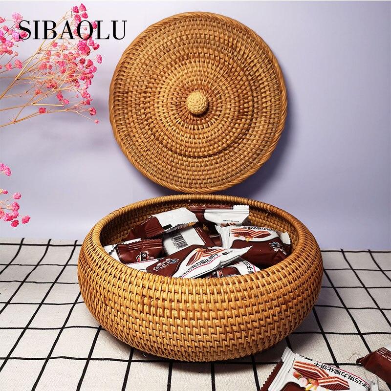 SIBAOLU Rattan Fruit Storage Basket Tea Storage Box With Lid Hand woven Snack Food Storage Home Office Desktop Supplies