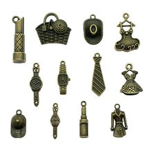 15pcs/lot Charms Daily Necessities Antique Bronze Color Daily Supplies Charms Pendant Jewelry Hat Watch Dress Tie Charms(China)