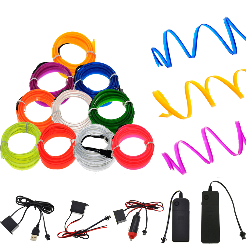 Neon Light EL Wire With 6mm Sewing Edge Led Car Decor Light Party Car Wire Lights Neon LED Strips Flexible Light 2.3MM Rope Tube