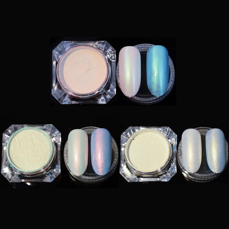 1 Caja 2g Brillante Nail Glitter Pearl Powder Manicure Nail Art Glitter Powder Polvo Acrílico Manicure Nail Decoraciones
