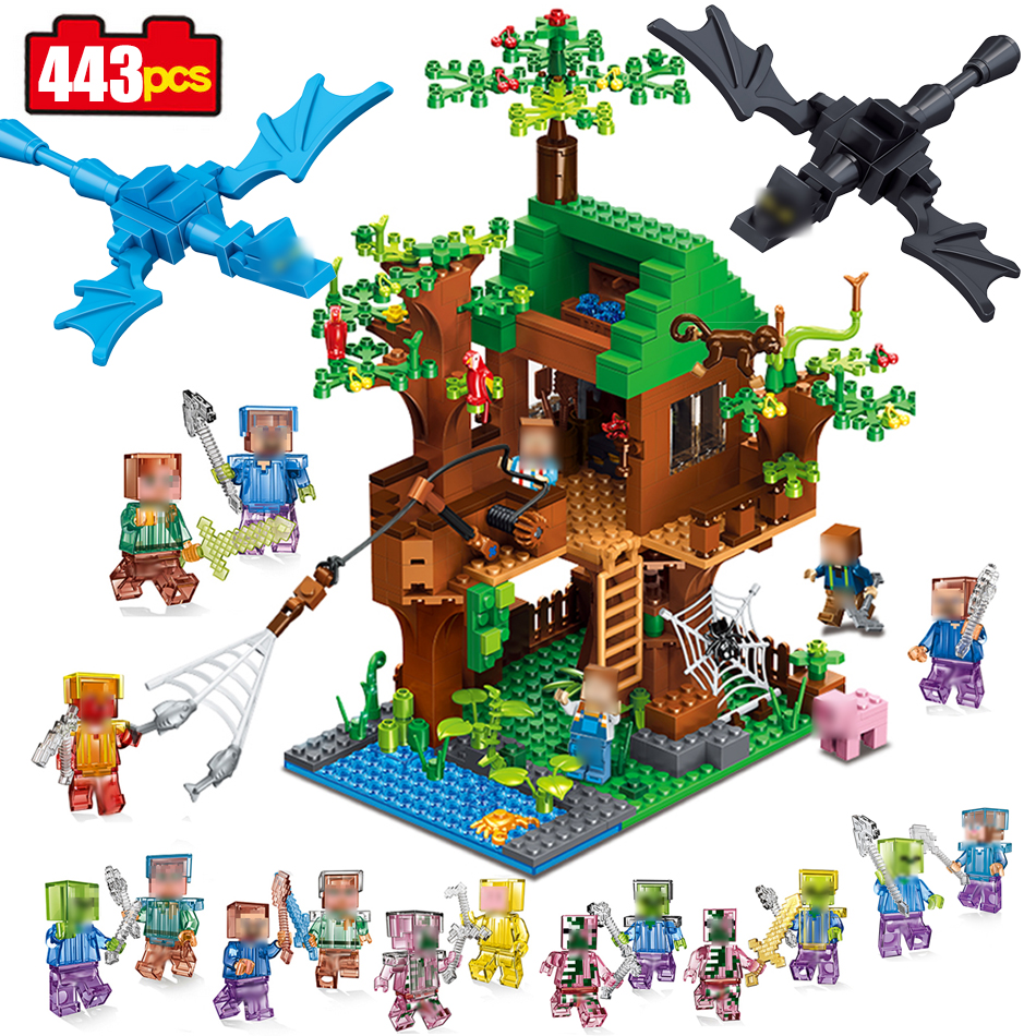 443pcs mine World Series Island Forest House Model Building Blocks Compatible Legoed Minecrafted village brick toys for children killer mine