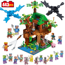443pcs mine World Series Island Forest House Model Building Blocks Compatible Legoed Minecrafted village brick toys for children