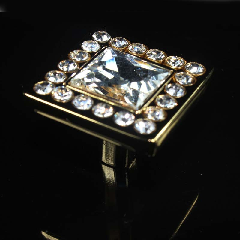 32mm fashion deluxe square glass diamond furniture handle K9 crystal drawer cabinet knob pull gold dresser cupboard door pull american rural style chrome crystal handle for drawer cupboard square diamond knob high grade pull for furniture free shipping