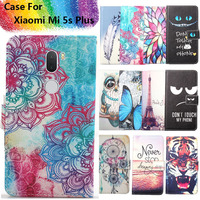 Fashion 11 Colors Cartoon Painting PU Leather Magnetic clasp Wallet Cover For Xiaomi Mi 5s Plus Case