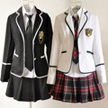 New Hot Japanese School Girl Suits Uniform British Preppy Chic Cosplay Costume Full set in stock free shipping