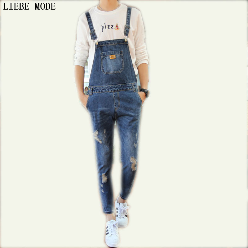 Mens Bib Denim Overalls Skinny Jeans Ripped Jumpsuit Men Blue Suspender Jeans Men 2016 brand mens denim overalls fashion bib jeans skinny overalls for men hole slim black and white suspender pants m xxl
