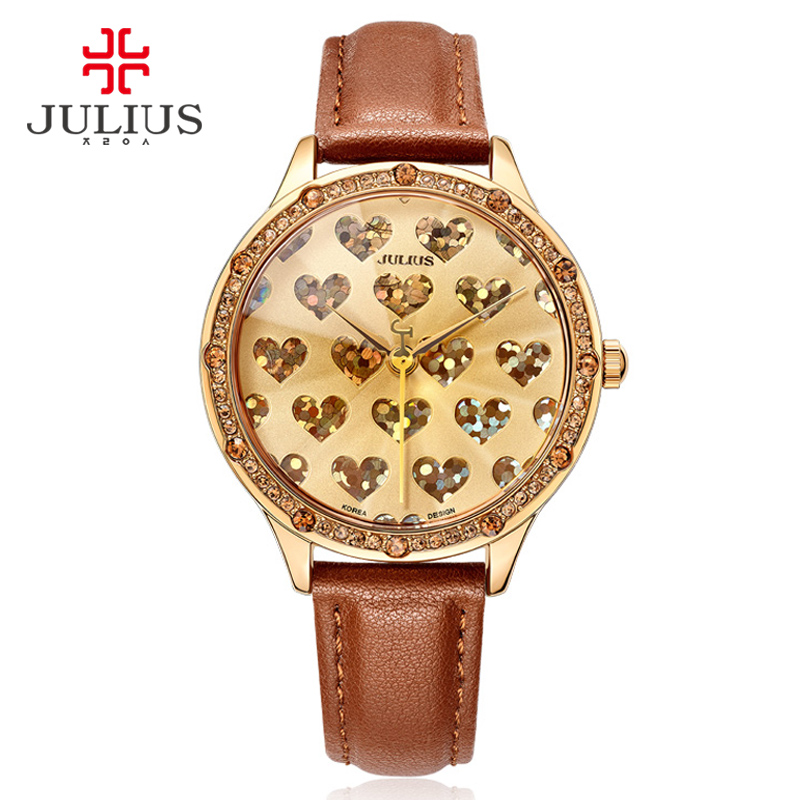 ФОТО Julius Brand Logo Lady Crystal Heart Romantic Watch for Valentine Gift Geneva Wristwatch Waterproof Hand Clock Hour Reloj JA-851