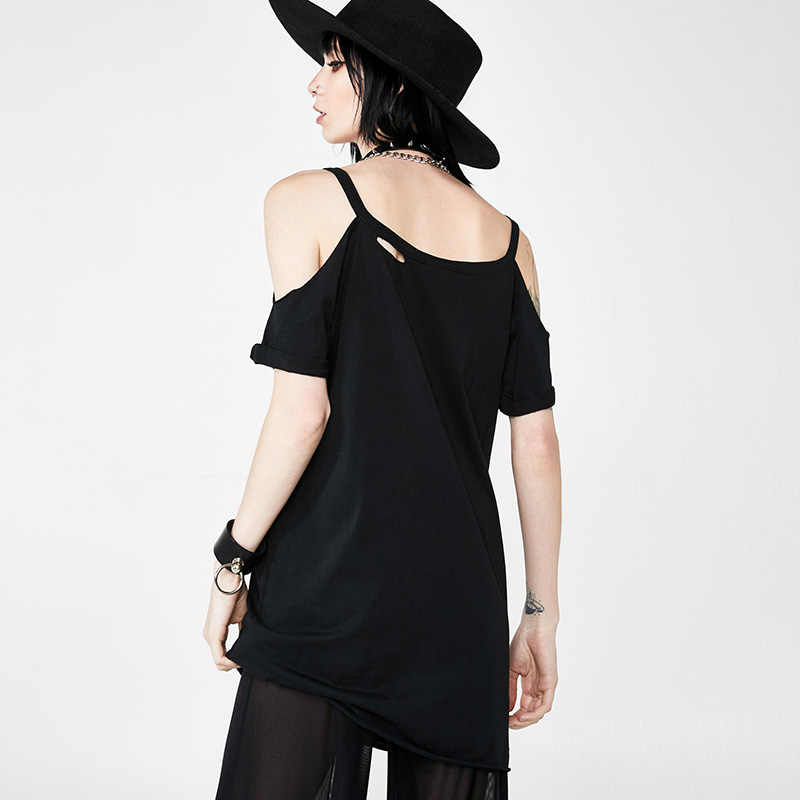 Готическая ведьма черные свободные футболки Летние пальцы Printe с открытыми плечами панк уличная Футболка короткий рукав Харадзюку длинная футболка