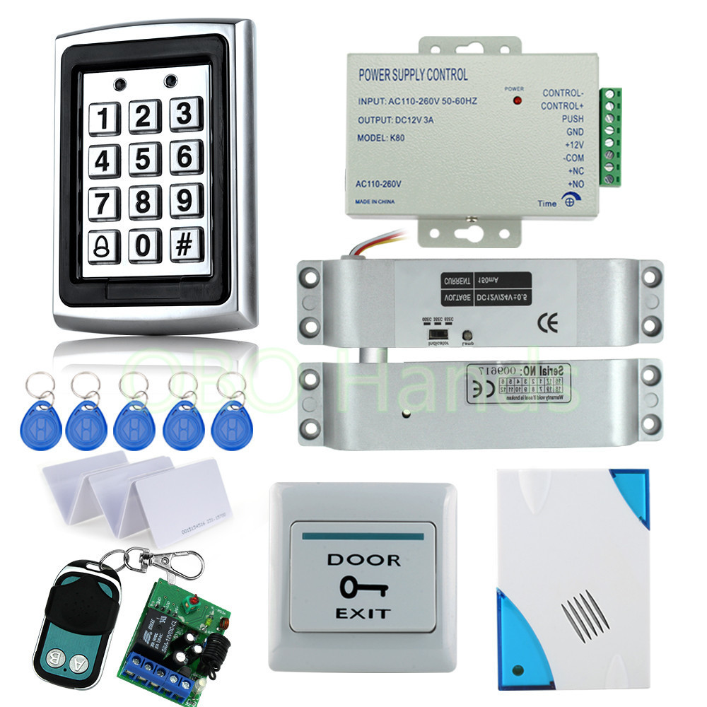Free Shipping RFID Waterproof Door Access Control System Kit Set with Electric Bolt Lock+Power+Remote control+Door bell+Exit+key wireless service call bell system popular in restaurant ce passed 433 92mhz full equipment watch pager 1 watch 7 call button