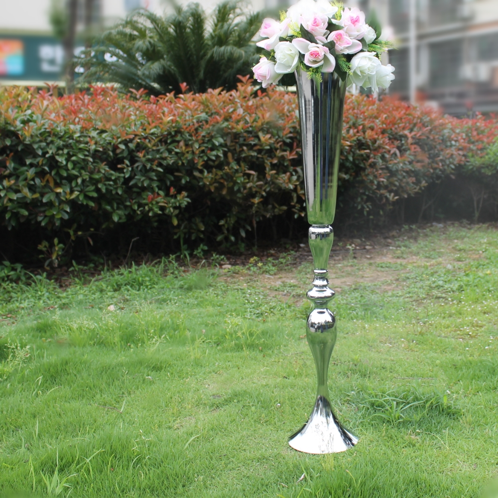 <font><b>90</b></font> CM Height Silver Metal Candle Holders Pillar Candle Stand Wedding Centerpieces Event Road Lead Flower Vase Rack wedding prop image
