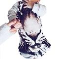 Batas del bebé primavera bebé de la muchacha ropa del patrón del tigre 3D recién nacido de una pieza ropa de los bebés de los mamelucos del bebé tyh-30650