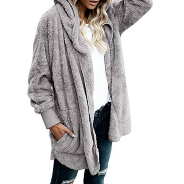 daa71e110 Womens Faux Fur Coat Hooded Cardigan Jacket Open Front Long Sleeve Solid  Color Womens Coat