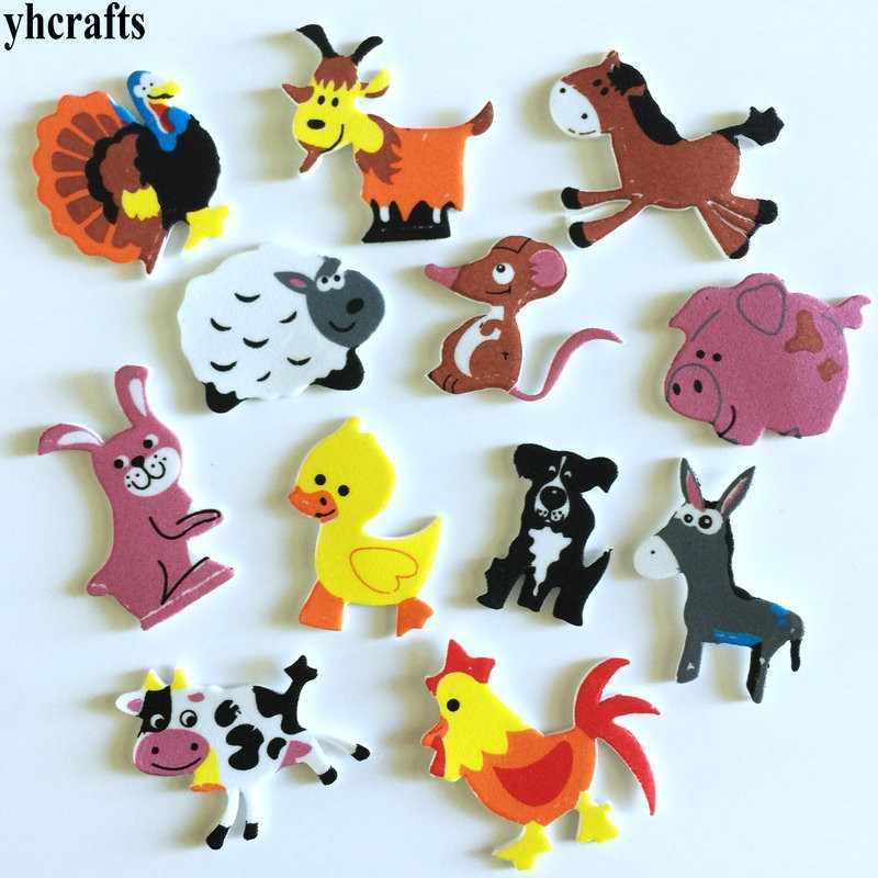 1 saco/lote. adesivos de espuma de animais de fazenda, kit de scrapbooking, brinquedos educativos para artesanato de jardim de infância, brinquedos feitos à mão