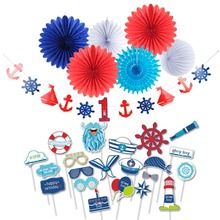 27pcs Nautical Theme First Birthday Boy Party Decorations  With Photo Booth Props Birthday Banner 1-6 Years Kids Happy Birthday цена 2017