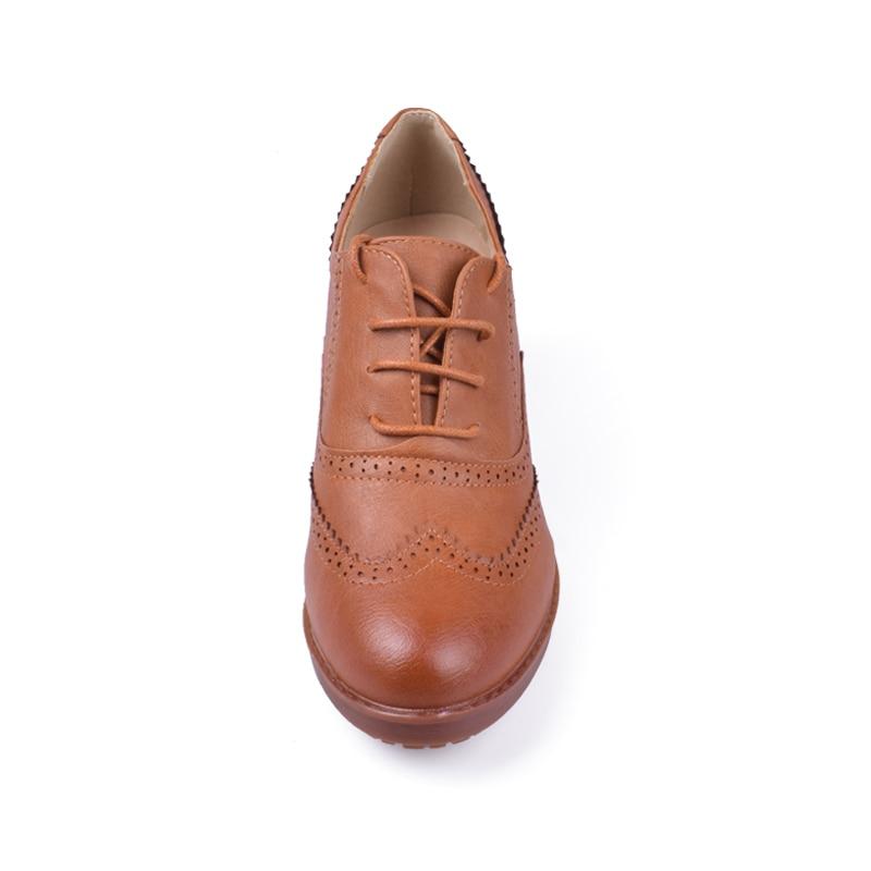 75c674676a301 Oxford Style De Haute Talons noir Pour Britannique Talon Chaussures Plate  Pompes Femmes Beige Épais Casual marron ...