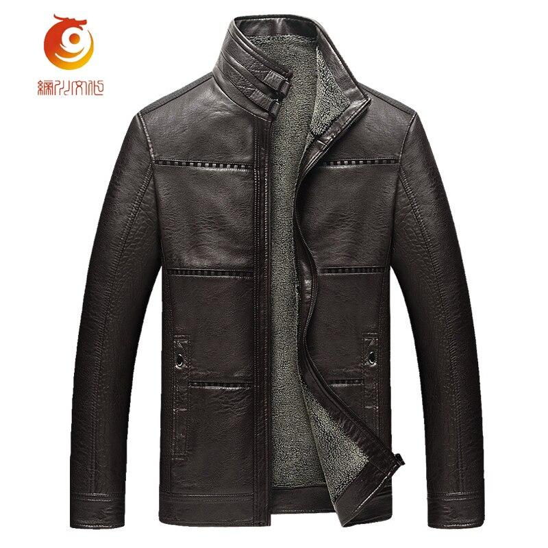 2017 Jaqueta Masculina Hot Sale Thick Jaqueta Masculina Couro Leather Garment Casual Flocking PU Black Mens Leather Jacket