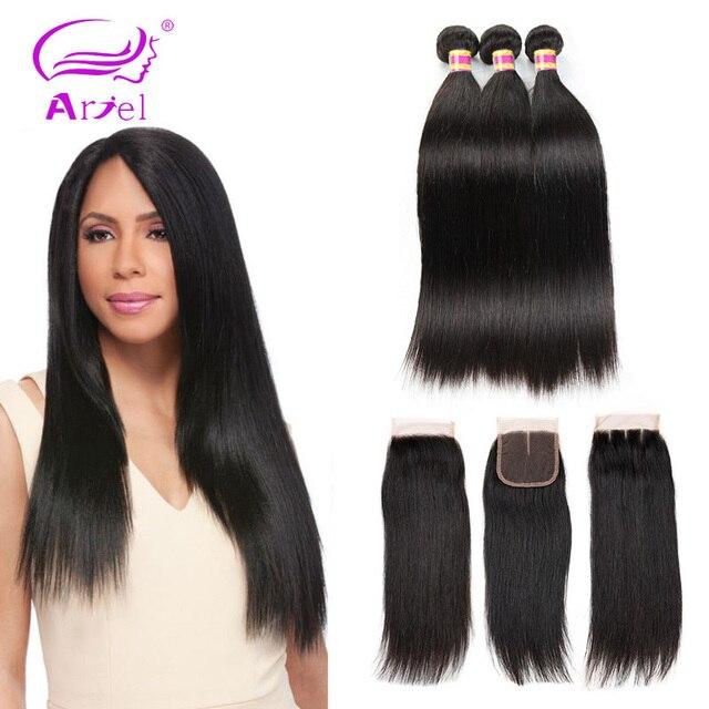 Paquetes de pelo brasileño Ariel con cierre de pelo recto 3 4 paquetes con cierre no remy paquetes de cabello humano con cierre