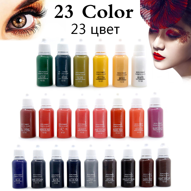 23 Colors Microblading Permanent Makeup Pigment Color Fastness Professional Eyebrow Micro Tattoo Ink Set Permanent Lip Pigments