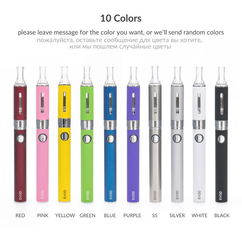 Evod волдырь комплект электронных сигарет распылитель 650 мАч 900 мАч 1100 мАч логотип Батарея электронных сигарет 10 Цвета
