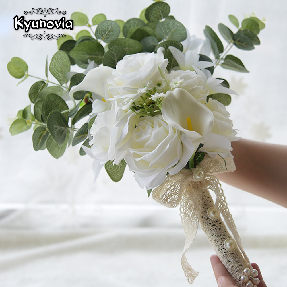 Image 3 - Kyunovia Boho Bridal Wedding Flowers Mini Bridesmaid Bouquet Real Touch White Calla Lily  Flowers Bridal Wedding Bouquet FE100Wedding Bouquets   -