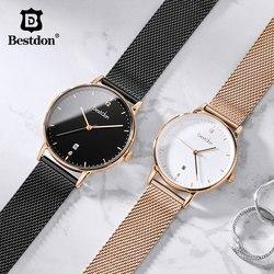 ساعة يد رجالية من العلامة التجارية الفاخرة من Bestdon فستان غير رسمي مقاوم للماء ساعات يد نسائية كوارتز من الفولاذ المقاوم للصدأ موضة 201